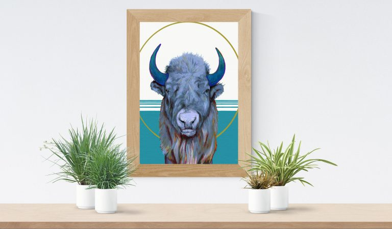 american bison framed